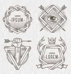 Tattoo style line art emblem vector image