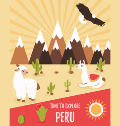 Tourist leaflet of peru with cute lamas vector