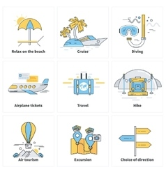 Traveling Vacation Journey Icons on White vector image