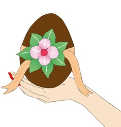 Womans hand with Easter egg vector image vector image