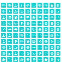100 statistic data icons set grunge blue vector