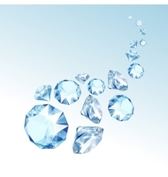 Blue Shiny Clear Diamonds Fall down vector image