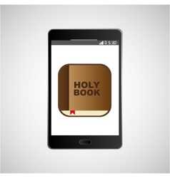 Big smartphone black holy bible online icon vector