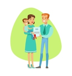 Smiling people holding insurance contract vector