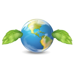 Planet earth two leaves vector image