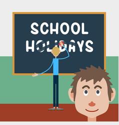 Schoolboy wipes a school board vector