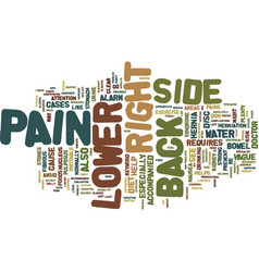 Z back pain lower right side text background word vector