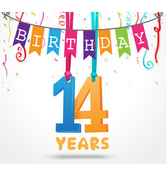 14 years birthday celebration greeting card design vector