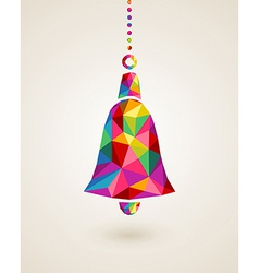Christmas colorful hanging bell bauble vector image