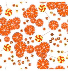 Seamless pattern of oranges slices and candy vector