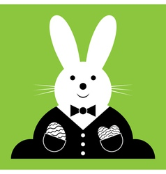 Easter bunny with suit and eggs vector