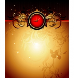 Clock frame with floral vector