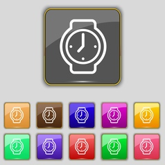 Watches icon sign set with eleven colored buttons vector