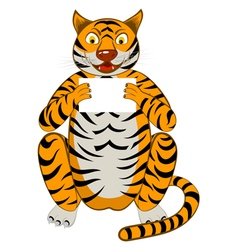 Funny cartoon tiger vector