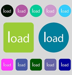 Download now icon load symbol 12 colored buttons vector