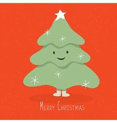 Christmas tree cute character on red background vector