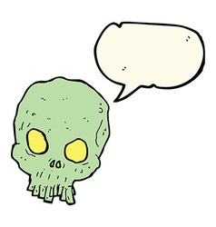 Cartoon spooky skull with speech bubble vector