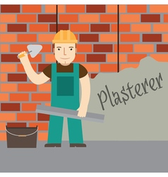 Plasterer at work vector