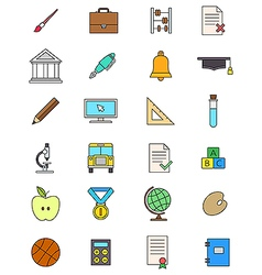 Color school icons set vector