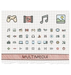 Media hand drawing line icons doodle vector