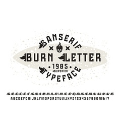 Sanserif font with burn initial letter vector