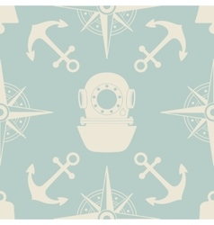 Vintage nautical seamless pattern vector