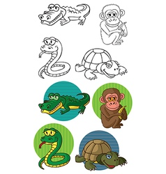 Animals reptiles and monkey vector