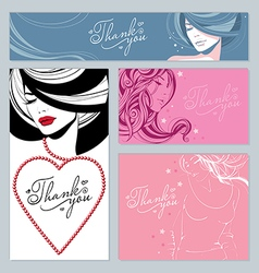Beautiful girls stars and hearts vector