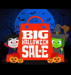 Big halloween sale design background vector