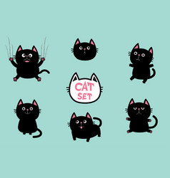 Black fat cat set cute cartoon screaming funny vector