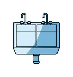 Blue shading silhouette of kitchen sink vector