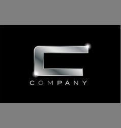 C silver metal letter company design logo vector