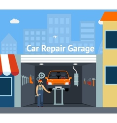 Cartooned Car Repair Garage vector image vector image