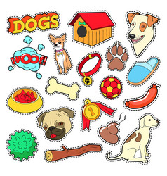 Dogs Pets Doodle for Scrapbook Stickers Patches vector image vector image