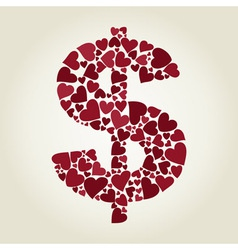 Dollar heart vector image
