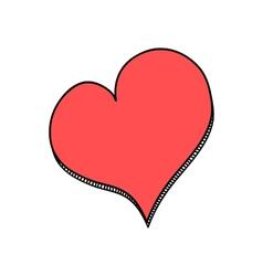 Doodle red heart vector