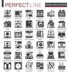 Home appliances classic black mini concept symbols vector