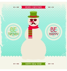 Merry Christmas background with snowman in hipster vector image