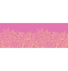 Pink and gold florals horizontal seamless pattern vector