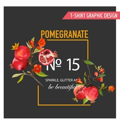 Pomegranate flowers and leaves exotic tropical vector