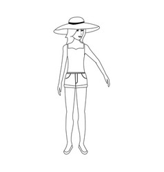 Pretty happy woman wearing big sun hat tank top vector