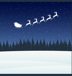 Reindeer in harness with sleigh santa claus for vector