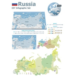 Russia maps with markers vector image