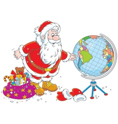 Santa Claus with a globe vector image