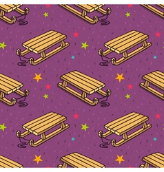 seamless pattern with kids wooden sleigh vector image vector image