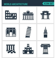 Set of modern icons world architecture vector