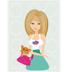 sexy girl and her dog vector image vector image