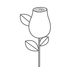 Silhouette sketch rosebud with leaves and stem vector