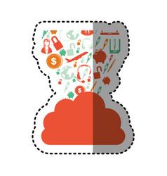 Sticker orange cloud in cumulus shape with set vector