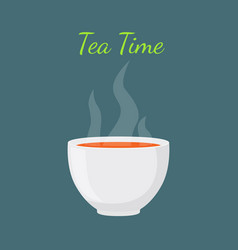 Tea time - hot drink white cup morning beverage vector